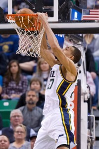Nov 30, 2015; Salt Lake City, UT, USA; Utah Jazz center Rudy Gobert (27) dunks the ball during the first half against the Golden State Warriors at Vivint Smart Home Arena. Mandatory Credit: Russ Isabella-USA TODAY Sports