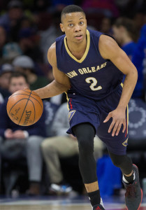 Apr 5, 2016; Philadelphia, PA, USA; New Orleans Pelicans guard Tim Frazier (2) dribbles against the Philadelphia 76ers at Wells Fargo Center. The Philadelphia 76ers won 107-93. Mandatory Credit: Bill Streicher-USA TODAY Sports