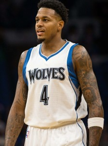 Oct 21, 2016; Minneapolis, MN, USA; Minnesota Timberwolves guard Brandon Rush (4) during the second quarter against the Charlotte Hornets at Target Center. Mandatory Credit: Brace Hemmelgarn-USA TODAY Sports